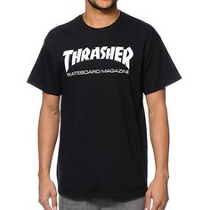 Thrasher Skate Mag Black T-Shirt ($22) via Polyvore featuring tops, t-shirts, cotton t shirts and cotton tee