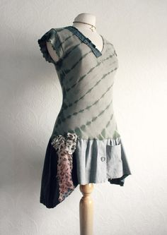 Olive Green Long Upcycled Top Rustic by BrokenGhostClothing