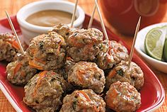 Mini Thai Meatballs  Peanut Sauce   Dashrecipes.com These look so good! Nice change from regular meatballs-might swap out the sauce for something with sriracha