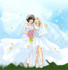 Kingdom Hearts, Kingdom Hearts 358/2 Days, Naminé, Xion, Holding Flower, Wedding Dress