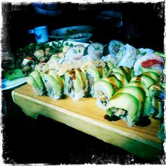 Sushi Village Check out their $ 19.00 menu in Dine Around Whistler! Whistler, Fresh Rolls, Sushi, Menu, Dining, Ethnic Recipes, Check, Food, Menu Board Design