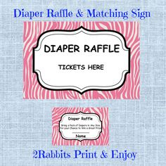 Printable Zebra Pink Girl Baby Shower  Diaper Raffle Tickets by 2RabbitsPrintEnjoy #zebrababyshowerdiaperraffle
