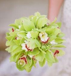 Lime Green Cymbidium Orchids Wedding Bouquet