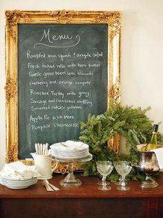 This is a clever & eye pleasing way to present dinner. Take a picture to make memories & look back on what was cooked on holidays passed.