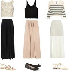 Maxi Skirt Inspired!  Minimarket crop top, $75 / 3.1 Phillip Lim crop top / River Island sequin top, $40 / See by Chloé pleated maxi skirt / Great Plains long skirt, $95 / Miss Selfridge pleated maxi skirt / Ballet shoes / Faith flat sandals