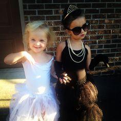 Marilyn Monroe and Audrey Hepburn... Best kid's Halloween costumes ever.