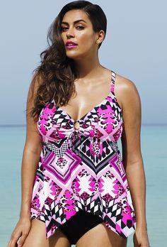 1b81a67a64 Tropiculture Pink Prism Handkerchief Tankini Top Cute Plus Size Clothes