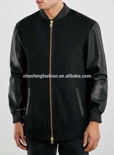 $23  Mens black plain winter baseball jackets leather sleeve letterman jacket fashion
