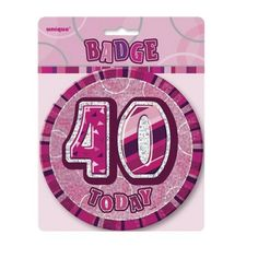 "6/"" JUMBO PINK 50 TODAY BIRTHDAY BADGE LADIES NEW PARTY HOLOGRAPHIC PIN 50TH"