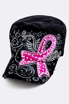 This rhinestone adorned, military-style cap is decorated with a pink breast cancer ribbon with a back-set of abstract art. The hat has a brass buckle and is 100% cotton. Color: Black $21.99 - $7.50 of EVERY purchase is given directly to the Breast Cancer Research Foundation (BCRF)!
