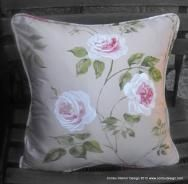 Luxurious cream silk cushion - handpainted pink and white roses with green leaves. Includes filler. W38 x H38cms W15 x H15 inches. Available from Conbu Interior Design | House and Home