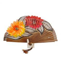 Abanico de madera con diseño margaritas - Paula Alonso - Tienda online