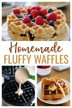 Use this Fluffy Waffle Recipe to make thick, fluffy homemade waffles without the hassle of beating egg whites! One Waffle Recipe, Waffle Batter Recipe, Waffle Recipes, Fun Recipes, Brunch Recipes, Egg White Recipes, Belgium Waffles, Fluffy Waffles, Breakfast