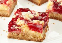 Duncan Hines Cheesecake Bars (cake mix, cream cheese and strawberry pie filling/topping)