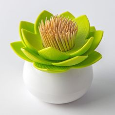 Lotus Pick Toothpick Holder (Green) by Qualy