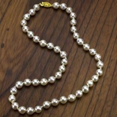 """14k Yellow Gold Over Silver 8-9mm White Akoya Japanese Saltwater Pearl High Luster Necklace 18"""" Length. La Regis Pearl & Gemstones. Save 82 Off!. $269.99. Perfect for all Occassions. Perfect Valentine's Day Gift"""