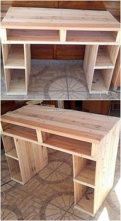 This is much a unique designed style of the desk table design for the house study purposes. This design has been attractively designed by the inf. Pallet Desk, Pallet Furniture Easy, Pallet Furniture Designs, Wooden Pallet Projects, Woodworking Projects Diy, Refurbished Furniture, Furniture Projects, Wood Furniture, Repurposed Furniture