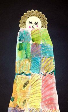 Kinder - Klimt Baby Jesus - crayon/watercolor resist