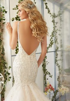 Wedding Dress 2823 Intricate Crystal Beaded Embroidery on the Tulle  Mermaid Gown