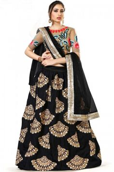 Black art silk semi stitch lehenga with net choli. This lehenga choli is embellished with embroidered .Product are available in 34,36,38,40 sizes. It is perfect for Party Wear,New Year,Eid.  Andaaz Fashion is the most popular designer wear online ethnic shop brand http://www.andaazfashion.com/womens/lehenga-choli