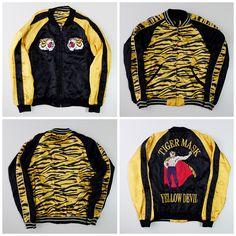 Vintage Japanese Roaring Tiger Mask Yellow Devil Embroidered Sukajan Souvenir Jacket - Japan Lover Me Store