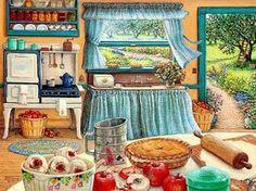 Еще одна славная печечка, да и весь уголок очень отрадный Конечно, тут печечка попроще, чем ЭТА красота, но зато ее проще чистить! ~~~~~~~~~~~~~~~~~~~~~~~~ Автор картины - в…