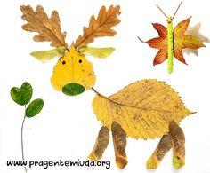 Animais com colagem de folhas secas | Pra Gente Miúda
