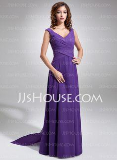 Bridesmaid Dresses - $120.99 - A-Line/Princess V-neck Floor-Length Chiffon Bridesmaid Dresses With Ruffle (007001484) http://jjshouse.com/A-line-Princess-V-neck-Floor-length-Chiffon-Bridesmaid-Dresses-With-Ruffle-007001484-g1484