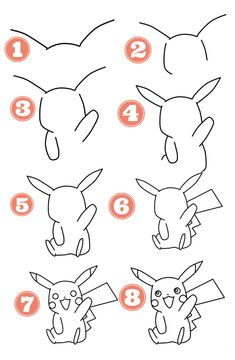Pikachu Drawing Easy, Easy Pokemon Drawings, Easy Pencil Drawings, Easy Disney Drawings, Easy Doodles Drawings, Simple Doodles, Cute Drawings, Easy Pokemon To Draw, All Pokemon Drawing