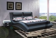 contemporary king size bed frames and headboards   Black Leatherette Modern Stylish Bed w/Padded Headboard