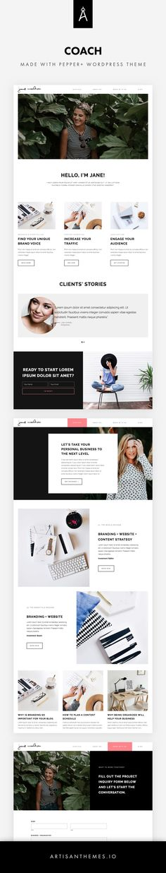 Coach is a site ready to be installed made with Pepper+ WordPress Theme by Artisan Themes. A chic and modern website for an expert, a coach, an advisor or a freelance designer. Totally customizable. Pages included: Home, Services, About me, Work with me, Blog.