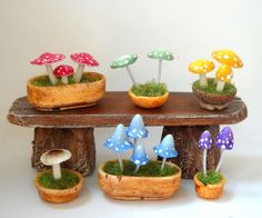 1/12TH scale - fairy witch wizard accessories - potted mushrooms and toadstools by LORY on etsy 64TNT