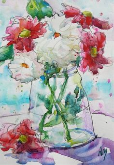 """Hand Painted Original Watercolour Painting of red and white fresh flowers in a glass vase. Floral, still life - 5x7""""painting with 8x10""""mat"""