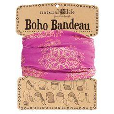 Wear 11 ways Comfy Cute headband BOHO BANDEAU olive magenta floral Stretchy