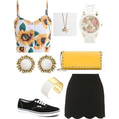 Sun flower party by jirinkaskalkova on Polyvore featuring polyvore fashion style Topshop Vans Valentino Kate Spade Kendra Scott J.Crew Aéropostale