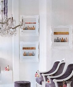 Turn an old frame into shevles to store nail polish