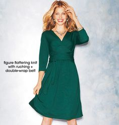 Knit Dress with Self Tie- Figure flattering knit dress with pleating and a double-wrap belt. Empire silhouette with 3/4 sleeves. Polyester/viscose. Machine wash and dry. Imported. Shop online at tashina.avonrepresentative.com
