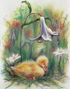 Canvas or Cotton art paper print, 'Rainy Day Slumber' by Laurie Shanholtzer ~ This sleepy little duckling slumbers under the umbrella of the lily blossom ~