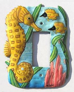 Switchplate Covers - Seahorse Rocker Light Switch Plate Covers - Hand Painted Metal Home Decor - Tropical Design Switchplate - by SwitchPlateDecor on Etsy Tropical Wall Decor, Tropical Design, Tropical Art, Tropical Colors, Decorative Light Switch Covers, Switch Plate Covers, Light Switch Plates, Painted Metal, Metal Art