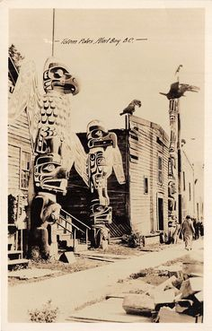 via the two germanys- Totem Poles. Alert Bay, B.C. Postcard, Canada.