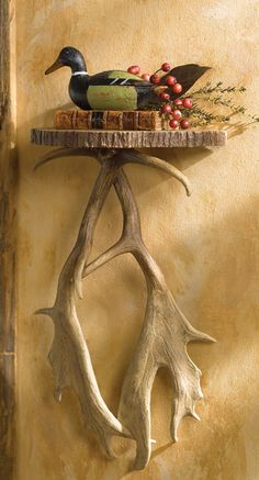 Antler Wall Shelf - A Black Forest Decor Exclusive - A detailed faux wood slab and masterfully reproduced antlers make this shelf as appealing as it is functional. Antler Crafts, Antler Art, Rustic Crafts, Rustic Decor, Deer Decor, Rustic Wood, Wood Crafts, Black Forest Decor, Rustic Office