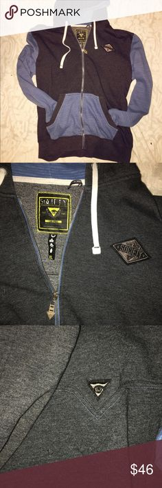 Men's Society full zip Hoodie with illuminati eye Size XL. This is a full zip hoodie with hidden details. This  brand is featured in high end boutiques and stores like Buckle. Blue and Grey (or soft black). Very unique and good quality! No holes, tears, rips or stains. Society Jackets & Coats Lightweight & Shirt Jackets