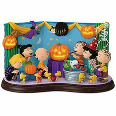 """Have a """"ghoulishly"""" good time with the PEANUTS™ gang as they celebrate Halloween in style! This charming hand-painted sculpture lights up fr. Charlie Brown Halloween, Peanuts Halloween, Charlie Brown And Snoopy, Holidays Halloween, Snoopy Merchandise, Snoopy Birthday, Snoopy Pictures, Native American Quotes"""