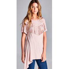 "COMING SOON: ""Pretty Little Mimi"" blush top featuring an asymmetrical hemline and fringe detailing.  #boho #shop #tn"