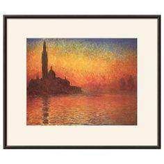 Art.com San Giorgio Maggiore by Twilight Framed Wall Art by Claude Monet, Orange