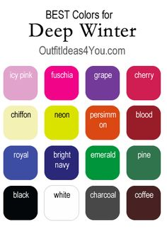 Here are the BEST colors for a Deep Winter. For a complete deep winter color palette, visit http://OutfitIdeas4You.com