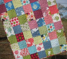 Stroller Patchwork Baby Quilt Just Wing It by SunnysideDesigns2, $79.00
