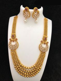 Jewelry OFF! High-quality gold-coated imitation haram necklace will come with the pair of earrings. Style: Matinee Material: Brass with high-quality gold-coated a matte finished Indian Wedding Jewelry, Indian Jewelry, Bridal Jewelry, Indian Bridal, Mens Gold Jewelry, Gold Jewellery Design, Silver Jewelry, Branded Jewellery, Jewellery Shops