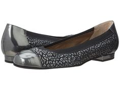 Anyi Lu Cate Ballet Flat in Anthracite Mirror/Cheetah Suede