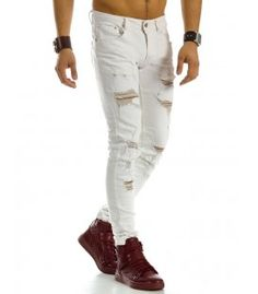 Pánske biele riflové nohavice